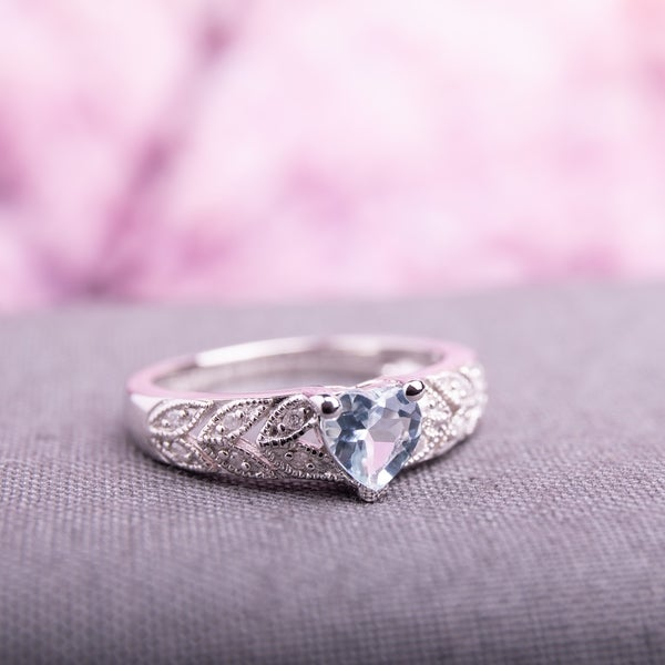 Miadora Sterling Silver Aquamarine and Diamond Accent Heart Ring. Opens flyout.