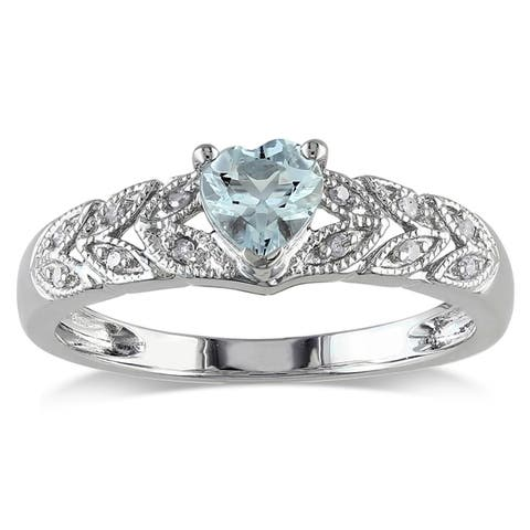 Miadora Sterling Silver Aquamarine and Diamond Accent Heart Ring