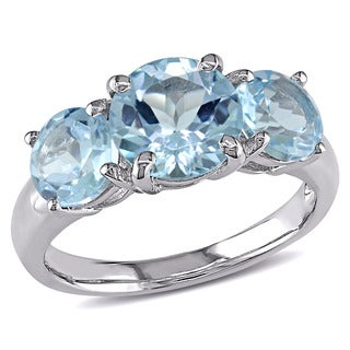 Miadora Sterling Silver Blue Topaz Three Stone Ring