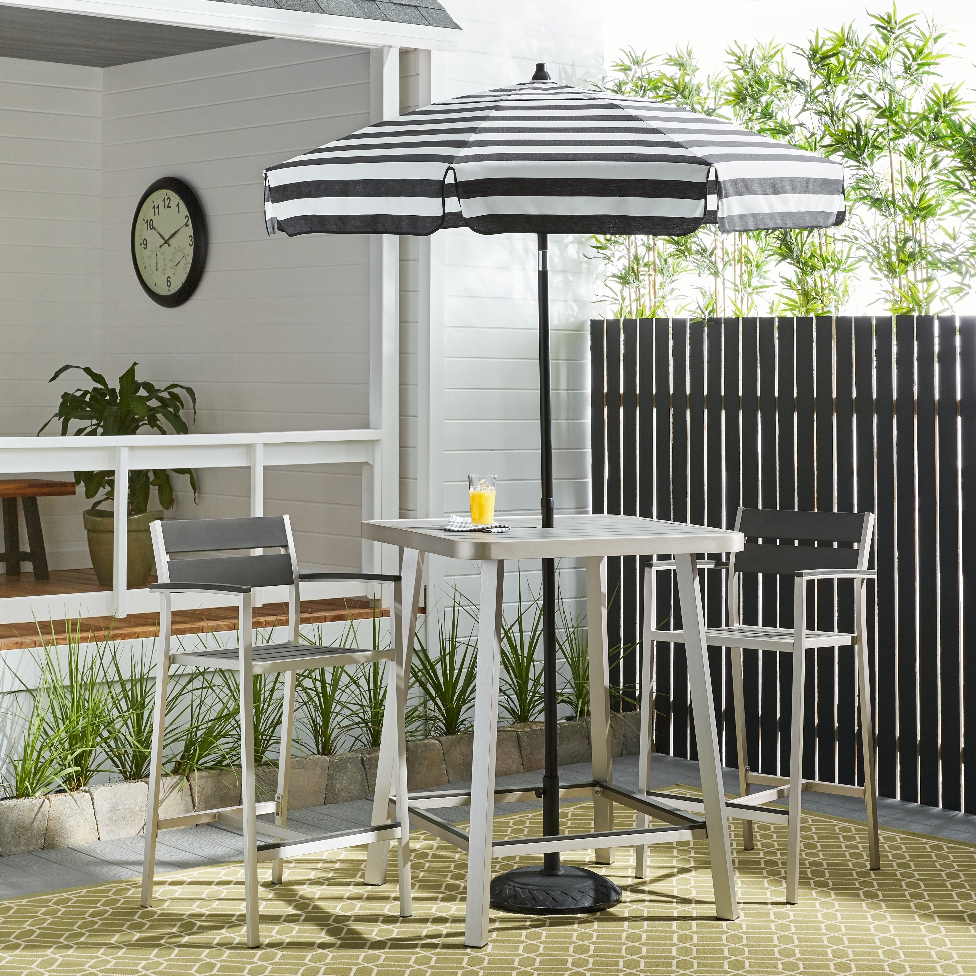 Italian Bistro Acrylic 6 Foot Striped Patio Umbrella