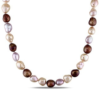 Miadora Sterling Silver Cultured Freshwater Multi-color Pearl Necklace
