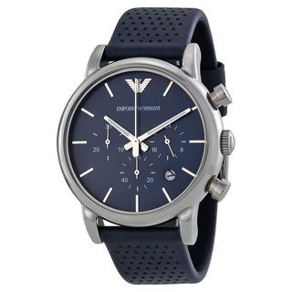 Emporio Armani Men's AR1736 'Classic' Chronograph Blue Leather Watch