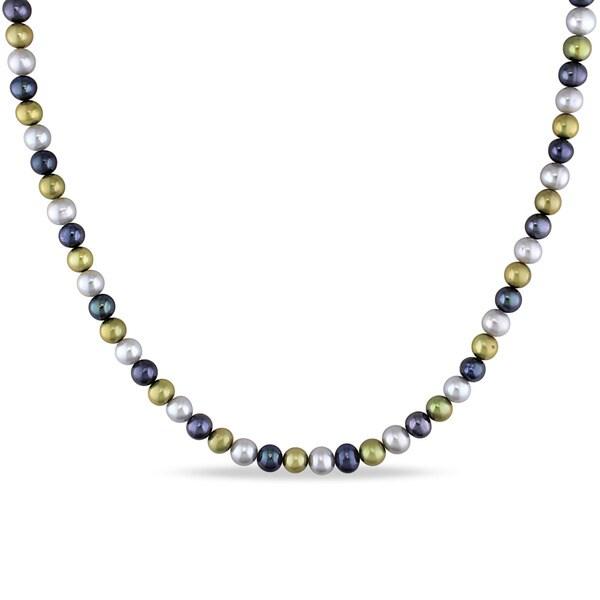 Miadora Silvertone Cultured Freshwater Multi-color Pearl Necklace (5-6 mm)