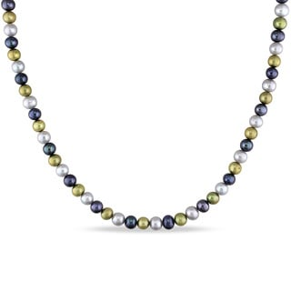 Miadora Silvertone Cultured Freshwater Multi-color Pearl Necklace (5-6 mm)