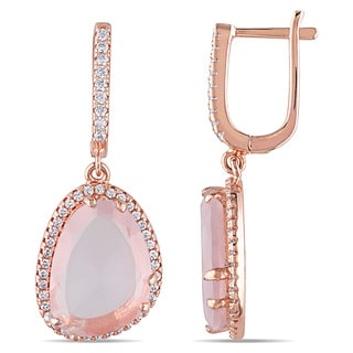 Miadora Rose Plated Silver Rose Quartz and White Topaz Dangle Earrings