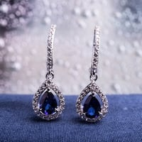 Miadora Sterling Silver Pear-cut Created Blue and White Sapphire Teardrop Halo Birthstone Leverback Earrings