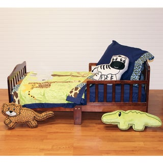 One Grace Place Boy's Jazzie Jungle Toddler 4-piece Quilt Set