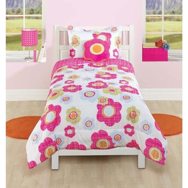 Textured Flower 4-piece Comforter Set with Decorative Pillow