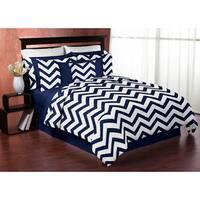 Sweet Jojo Designs Children's Navy Blue/ White Chevron Zig Zag Twin 4-piece Bedding Set