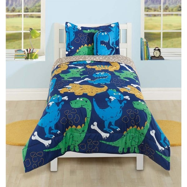 Shop Funny Dinosaur 4 Piece Comforter Set With Decorative
