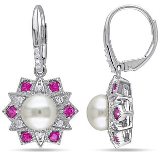 Miadora Sterling Silver Cultured Pearl, Created Ruby, Created Sapphire and Diamond Accent Dangle Earrings