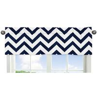 Sweet Jojo Designs Navy Blue and White 54-inch x 15-inch Window Treatment Curtain Valance for Navy Blue and