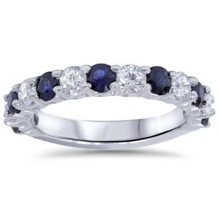 Bliss 14k White Gold 2ct TDW Diamond and Blue Sapphire Wedding Ring (I-J, I2-I3)