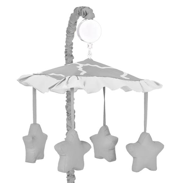 Sweet JoJo Designs Grey/ White Trellis Musical Baby Crib Mobile