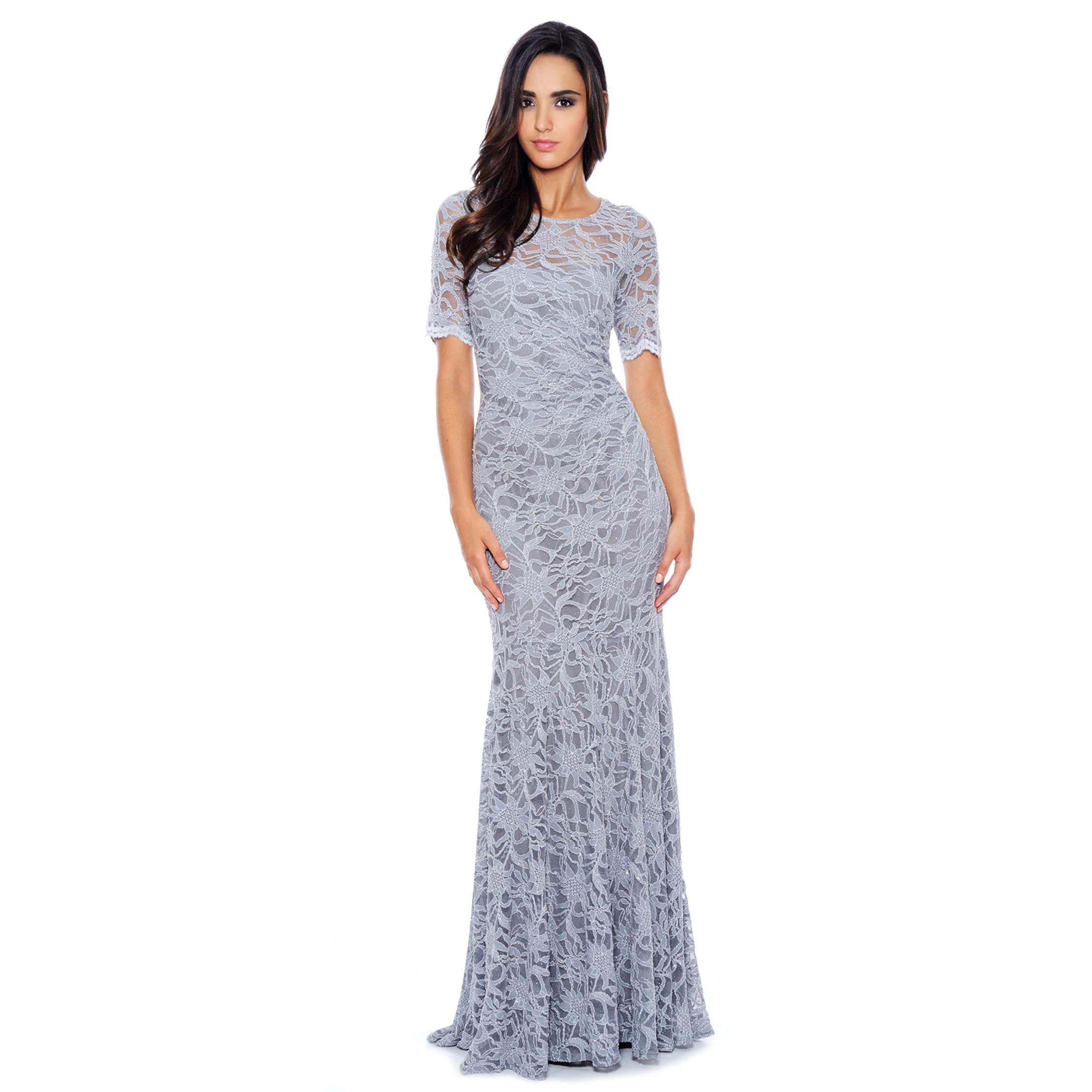 Decode 1.8 Form Fitting Glitter Stretch Lace Gown (Silver...