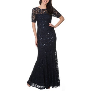 Decode 1.8 Form Fitting Glitter Stretch Lace Gown (Option: Silver)