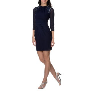 Decode 1.8 Women's Navy Embellished and Cut Out Shoulder Dress
