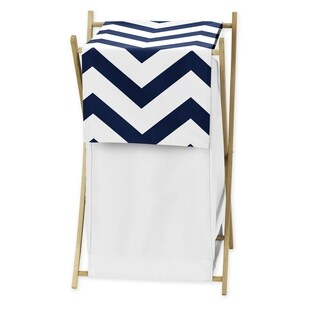 Sweet JoJo Designs Navy/ White Chevron Laundry Hamper