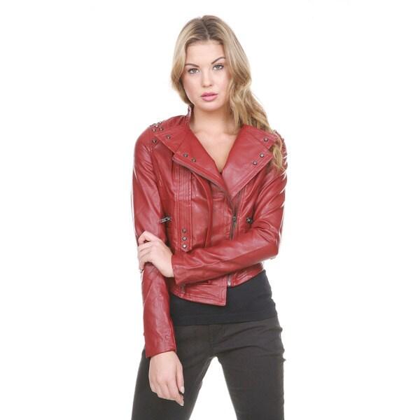 Stanzino Women's Studded Vegan Moto Jacket
