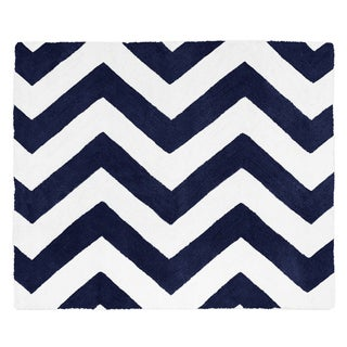 Sweet JoJo Designs Neutral Navy/ White Chevron Accent Floor Rug