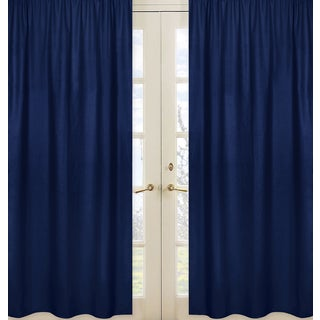 Sweet Jojo Designs Navy Blue 84-inch Window Treatment Curtain Panel Pair for Navy and Lime Stripe Collection
