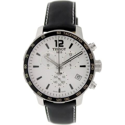 Tissot Men's 'Quickster' Chronograph Black Leather Watch