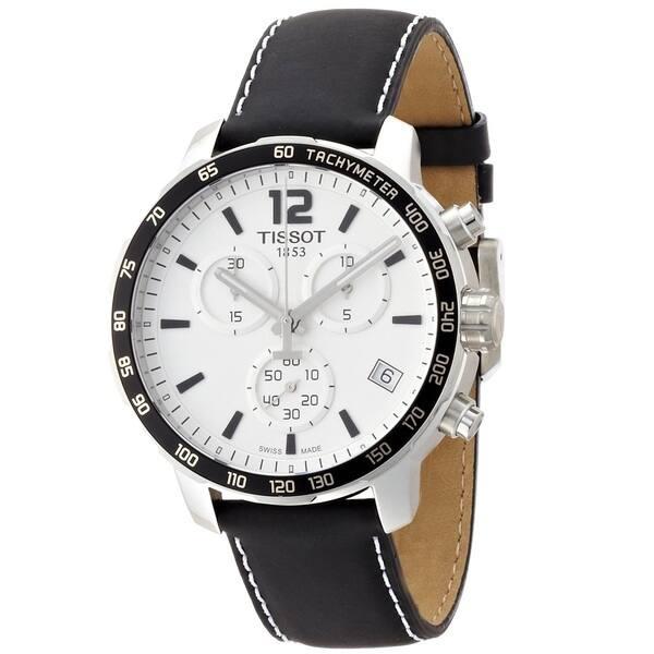 5cf50b52a49 Tissot Men's T0954171603700 'Quickster' Chronograph Black Leather Watch
