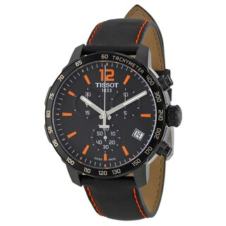 Tissot Men's 'Quickster' Chronograph Black Leather Watch