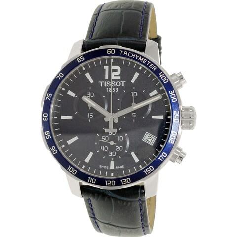 Tissot Men's T0954171604700 'Quickster' Chronograph Blue Leather Watch