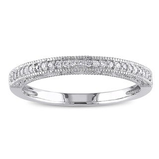 Miadora 10k White Gold 1/10ct TDW Diamond Textured Stackable Anniversary Style Wedding Band Ring