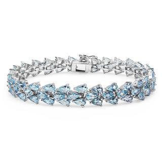 Malaika 14.94 Carat Genuine Aquamarine .925 Sterling Silver Bracelet