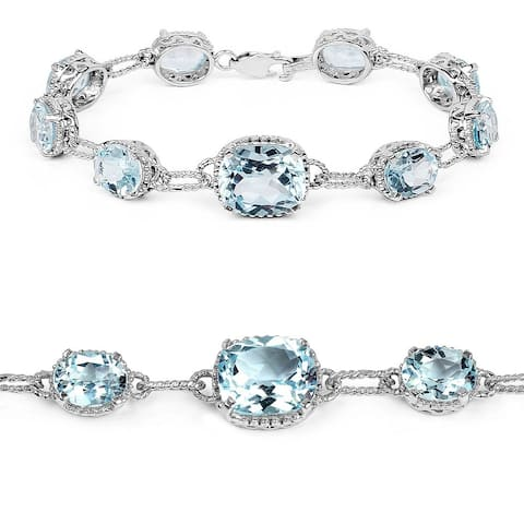 Olivia Leone Sterling Silver 24 3/4ct TGW Blue Topaz Tennis Bracelet