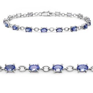 Malaika Sterling Silver 3 3/4ct Tanzanite Bracelet