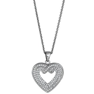Decadence Sterling Silver Micropave CZ Open Heart Pendant