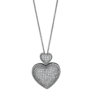 Decadence Sterling Silver Micropave CZ Fancy Heart Drop Pendant