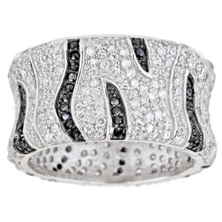 Decadence Sterling Silver Micropave CZ Black Stripes Cocktail Ring