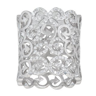 Decadence Sterling Silver Micropave Cubic Zirconia Filigree Ring