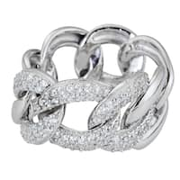 Decadence Sterling Silver Micropave CZ Chunky Link Eternity Ring