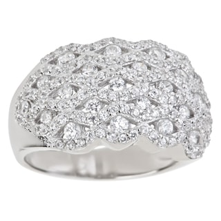 Decadence Sterling Silver Micropave CZ Basketweave Cocktail Ring