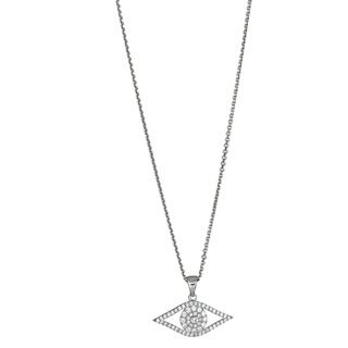 Decadence Sterling Silver Micropave Cubic Zirconia Evil Eye Ladies Pendant