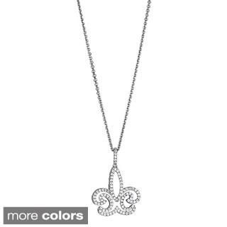 Decadence Sterling Silver Women's Micropave CZ Fleur De Lis Pendant
