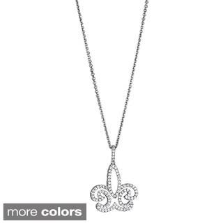 Decadence Sterling Silver Women's Micropave CZ Fleur De Lis Pendant|https://ak1.ostkcdn.com/images/products/9818748/P16983859.jpg?impolicy=medium