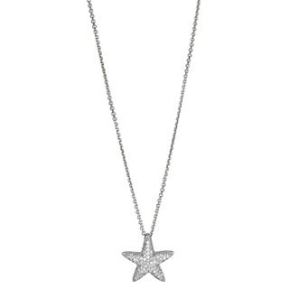 Decadence Sterling Silver Micropave CZ Starfish Pendant