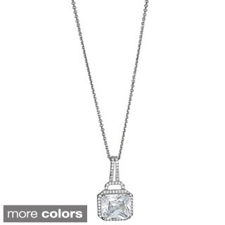Decadence Sterling Silver Micropave and Radiant Cut CZ Solitaire Pendant