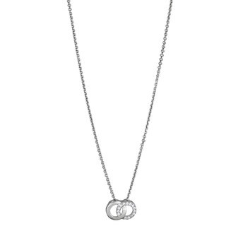 Decadence Sterling Silver Micropave CZ Interlocking Circle Pendant