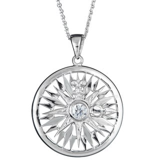Decadence Sterling Silver Micropave Cubic Zirconia Sun Pendant