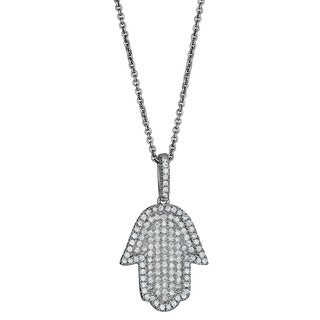 Decadence Sterling Silver Micropave Cubic Zirconia Hamsa Pendant
