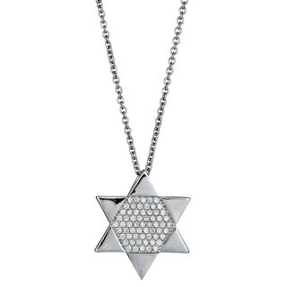Decadence Sterling Silver Women's Micropave CZ Star of David Pendant