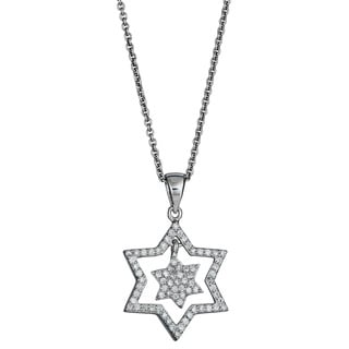 Decadence Sterling Silver Cut-out Star of David Pendant with Cubic Zirconia