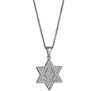 Decadence Micropave CZ Star of David and Hamsa Pendant